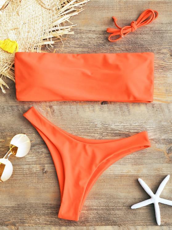 new Padded Bandeau Bikini Set - FLUORESCENT ORANGE S
