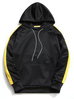 Kangaroo Pocket Contrast Color Hoodie Men Clothes - Black M