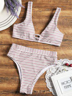 High Cut Striped Bikini Set - White M