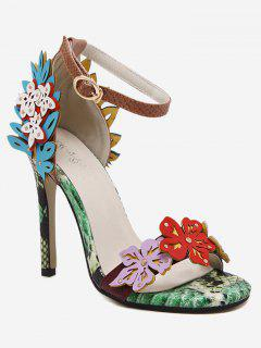 High Heel Flower Snake Print Sandals - Floral 39