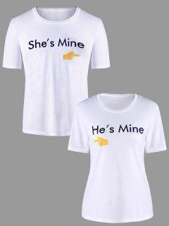 Graphic Printed Matching Couple T-shirt - White Men Xl