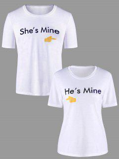 Camiseta Con Estampado Gráfico De Pares A Juego - Blanco Mujer M
