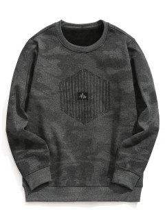 Textured Fleece Lining Camo Sweatshirt - Gray 3xl