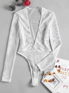 Plunge Fishnet Long Sleeve Bodysuit - White S