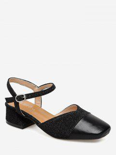 Sequined Cloth Block Heel Pumps - Black 39