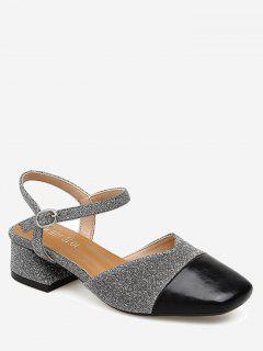 Sequined Cloth Block Heel Pumps - Silver 38