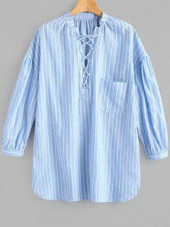 Lace Up Striped Pocket Dress - Light Blue M
