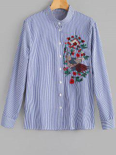 Floral Patched Striped Long Sleeve Blouse - Deep Blue S