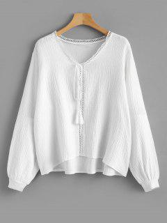 V Neck Hollow Out Tassels Blouse - White