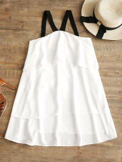 V Neck Tiered Mini Dress - White M