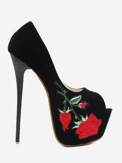 Floral Embroidered Platform Pumps - Black 37