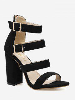 Chunky Heel Strappy Sandals - Black 40
