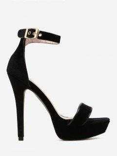 Party Two-piece Velvet Sandals - Black 36