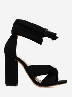 Twist Front Lace Up Sandals - Black 39