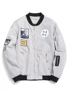 Patched Bomber Jacket - Gray M