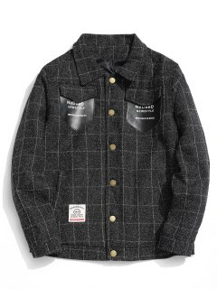 Graphic Pocket Checked Jacket - Black 2xl
