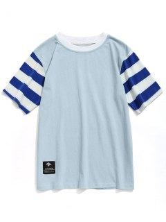 Camiseta Con Cuello Redondo Y Mangas Rayadas - Azul Gris L