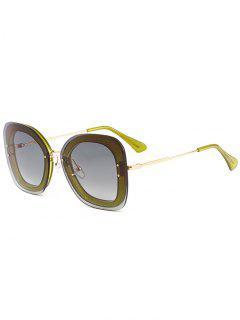 Unique Metal Frame Nose Pad Sunglasses - Green