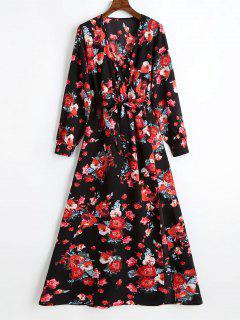 Plunging Neck Slit Floral Belted Maxi Dress - Black Xl