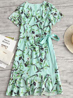 Floral Print Ruffles Asymmetric Belted Dress - Light Green M