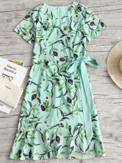 Floral Print Ruffles Asymmetric Belted Dress - Light Green 2xl
