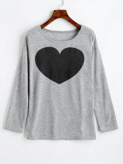 Heart Print Long Sleeve Tee - Gray L