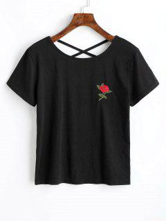 Criss Cross Floral Embroidered Tee - Black M