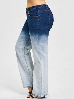 Plus Size Zwei Tone Wide Leg Jeans - 5xl