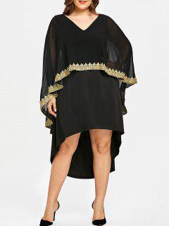 Robe Haute-Bas à Col En V Grande Taille - Noir 5xl