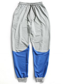 Color Block Drawstring Sweatpants - Gray Xl