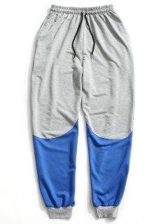 Pantalones De Chándal Con Cordón Del Bloque Del Color - Gris Xl
