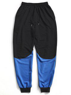 Color Block Drawstring Sweatpants - Black L