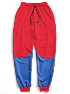 Color Block Drawstring Sweatpants - Red Xl