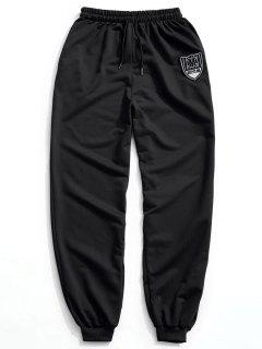 Patch Drawstring Jogger Pants - Black L