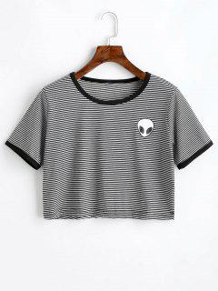Extraterrestrial Print Striped Crop Tee - Black White M
