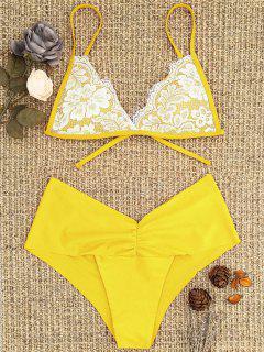 Lace Overlay Scrunch Butt Bikini Set - Yellow L