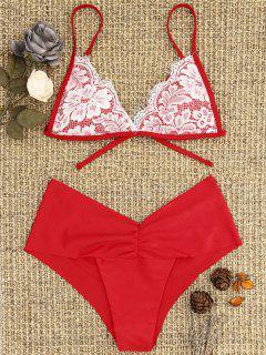 Lace Overlay Scrunch Butt Bikini Set - Bright Red L