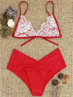 Lace Overlay Scrunch Butt Bikini Set - Bright Red S
