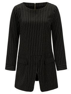 Striped Front Slit Tunic Blouse - Black Xl