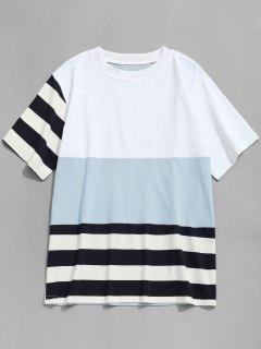 Stripe Color Block T-shirt - Blue Gray Xl