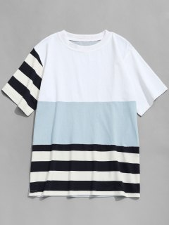 Stripe Color Block T-shirt - Blue Gray L