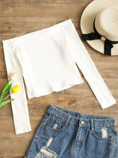 Camiseta Sin Hombros Con Costuras Recortadas - Blanco S