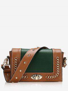 Studded Whipstitch Chain Crossbody Bag - Green