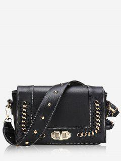 Studded Whipstitch Chain Crossbody Bag - Black
