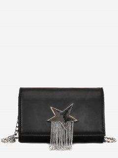Pentagram Chain Crossbody Bag - Black