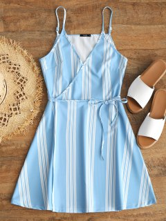 Slip Stripes Wrap Mini Dress - Light Blue L