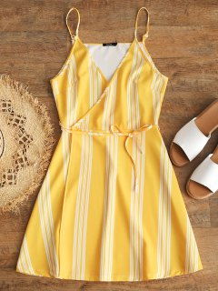 Slip Stripes Wrap Mini Dress - Yellow S