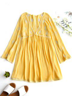 Low Cut Crinkly Embroidered Tunic Dress - Yellow M
