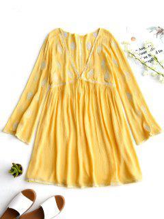 Vestido De Túnica Bordado Rizado De Corte Bajo - Amarillo S