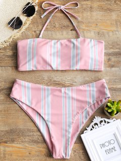 Gestreifte Halfter Swim Top Und High Cut Bottoms - Pink S